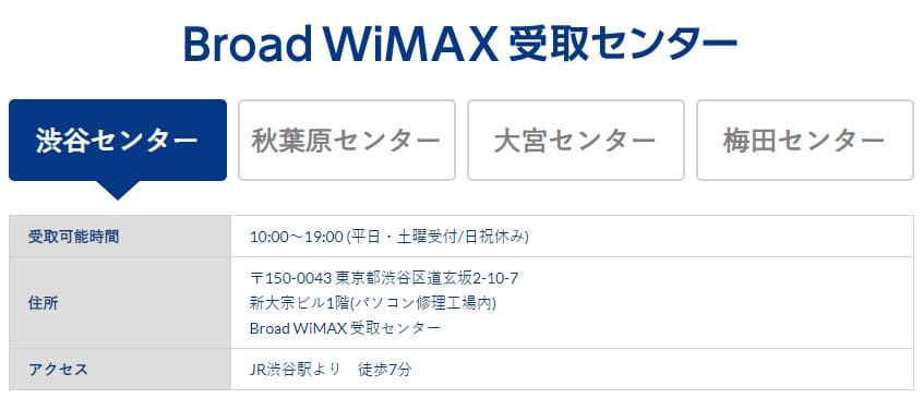 Broad WiMAXの即日受け取り店舗
